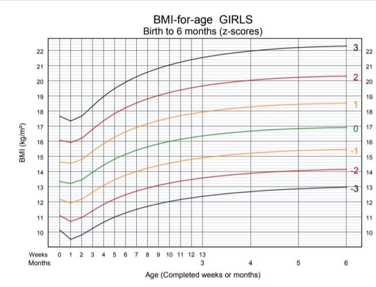 OMS - BMI per età bambine nascita 6 mesi
