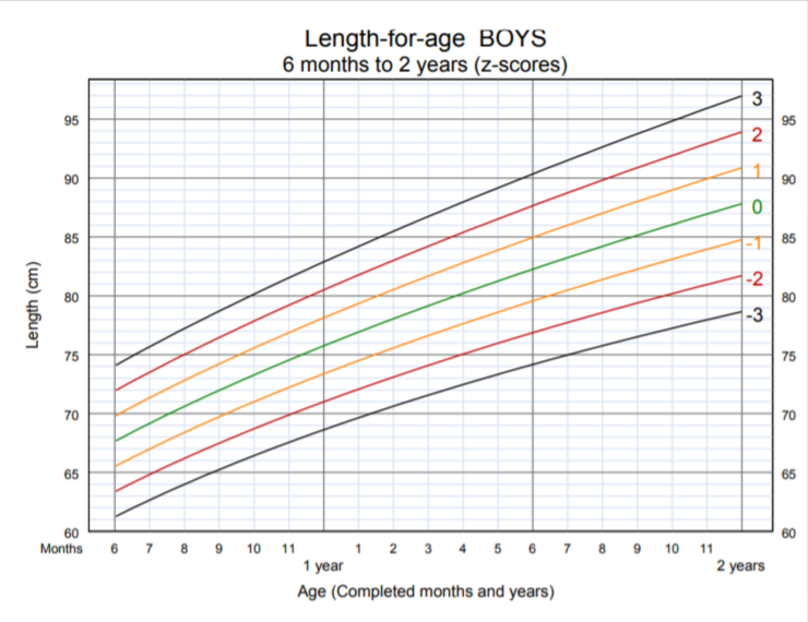 OMS - lunghezza per età bambino 6 mesi 2 anni