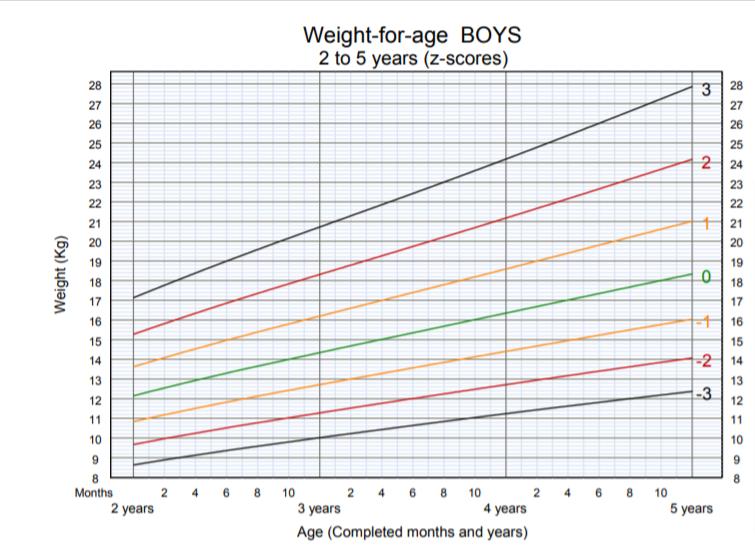 OMS - peso per età bambino 2-5 anni