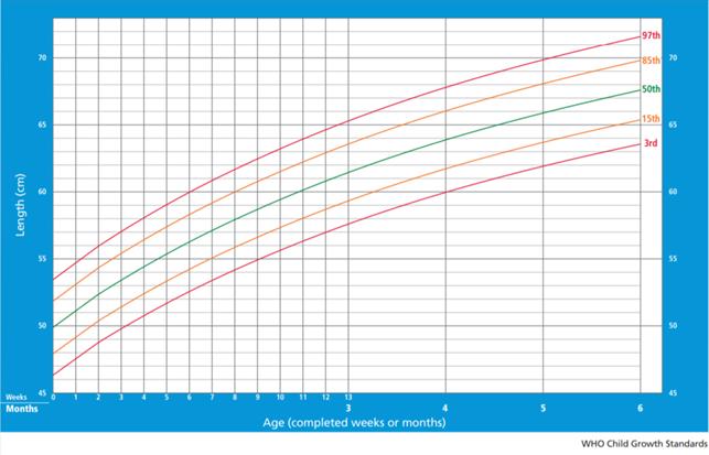 grafico con curve di crescita bambini - fonte OMS